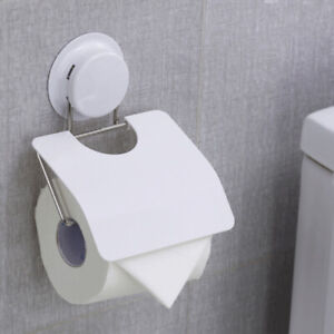 Wall Mounted Plastic Suction Bathroom Toilet Paper Roll Holder With Cover New