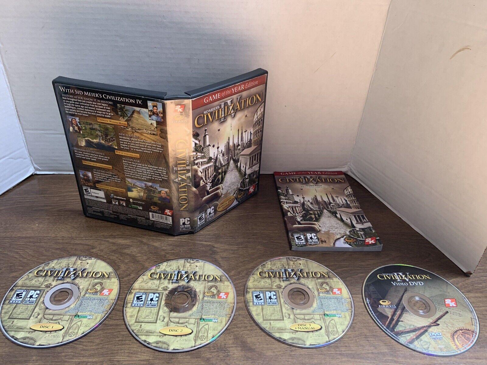 Sid Meier's CIVILIZATION IV Game Of The Year PC CD ROM original box 4 CDs  manual | eBay
