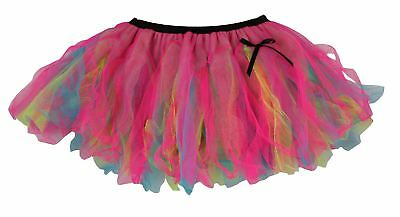 Ladies Flo Blue Yellow & Cerise Pink Festival Cyber Tutu Skirt Rave Fancy Dress Eine Hohe Bewunderung Gewinnen