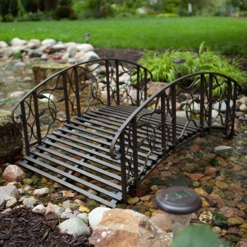 Weathered Black Finish Metal 4 Foot Garden Bridge Outdoor Yard Lawn Landscaping