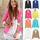 Fashion Women's Candy Color Foldable Sleeve Slim Casual Suit Blazer Jacket Coat