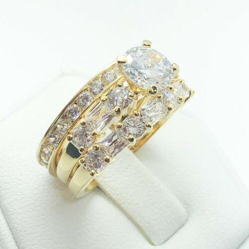 Joyas de oro amarillo de R5593 18K en blanco de boda compromiso conjunto 2 un Banda Anillo