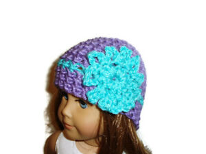Crochet-Hat-Fits-American-Girl-Dolls-18-034-Doll-Clothes-Purple-w-Aqua-Flower