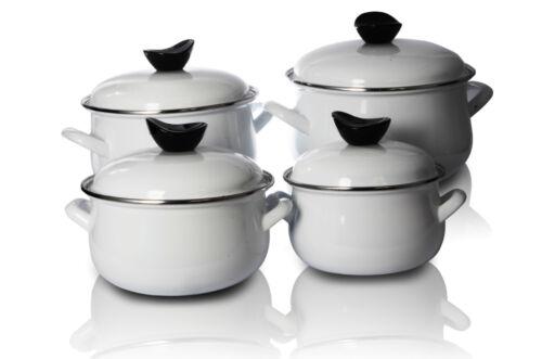 Enamel Cookware Set Casserole Pots Lid 8 Pcs Soup Stockpot White Classic Pot Pan