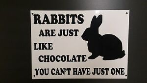 Funny-Sign-RABBITS-LIKE-CHOCOLATE-CAN-039-T-HAVE-1-xmas-present-4-animal-BUNNY
