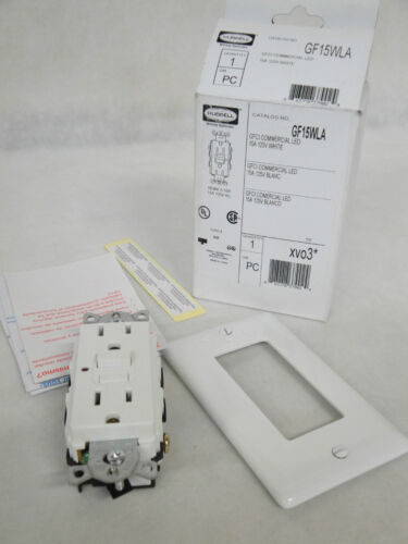 NEW IN BOX HUBBELL GF15WLA GFCI COMMERCIAL LED 15 AMP 125V WHITE RECEPTACLE
