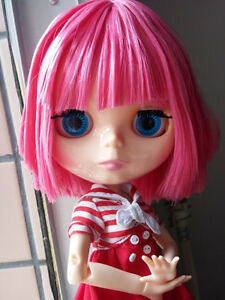 12-034-Neo-Blythe-Nude-Doll-From-Factory-Jointed-Body-Pink-Short-Hair-with-bang