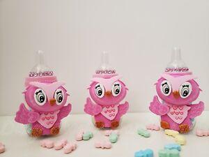 582c22bc3 Baby Shower 12 Owl Favor Fillable Bottles Prizes Games Girl Pink ...