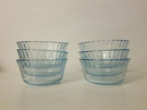 Lot-of-6-Colorex-Clear-with-a-Blue-Tint-Custard-Dish-Ice-Cream-Candy-Bowl
