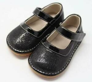 Black Sparkle Mary Jane Squeaky Shoes