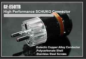 1Set GF-E50TJ Rhodium EU Schuko AC Power Plug /& Female IEC Female Connector
