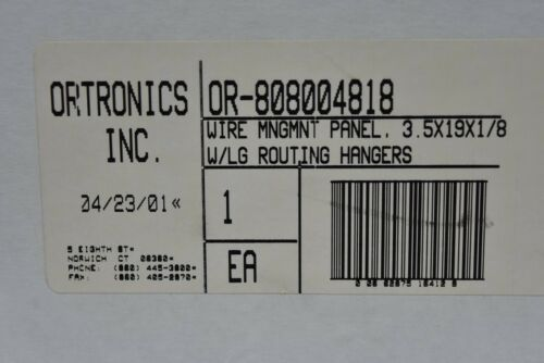 """Ortronics OR-808004818 Cable Wire Management Panel 19/"""" x 3.5/"""" w// LG Routing Hang"""