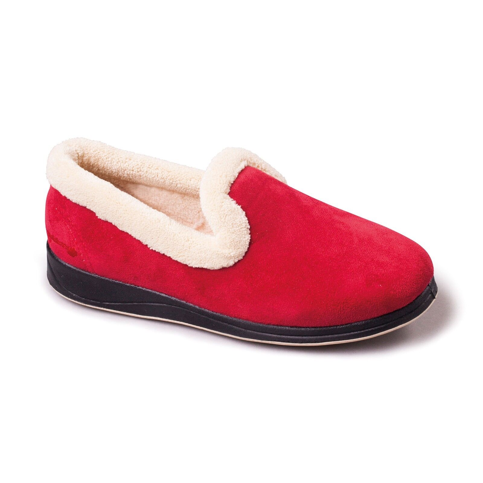 Padders REPOSE Ladies Memory Foam Comfy Extra Wide EE Fitting Slippers Red