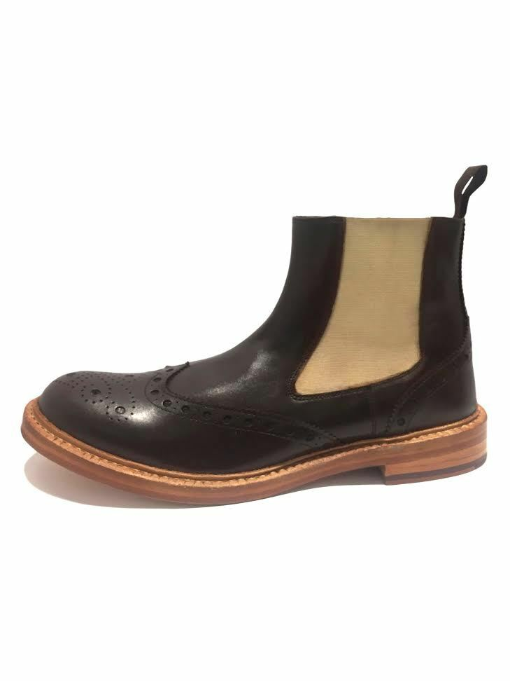 London Brogues Brunswick Leather Mens Chelsea Ankle Goodyear Welted Boots Shoes