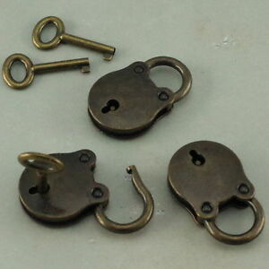 3 Pcs Old Vintage Antique Style Mini Padlocks Key Lock