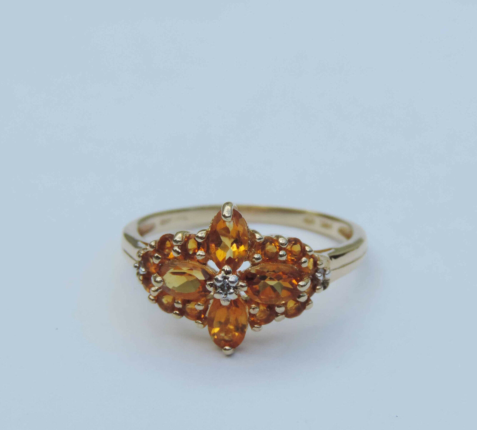 Genuine Citrine Gemstone Cluster Ring w  3 Diamond Accents - 14k Yellow gold