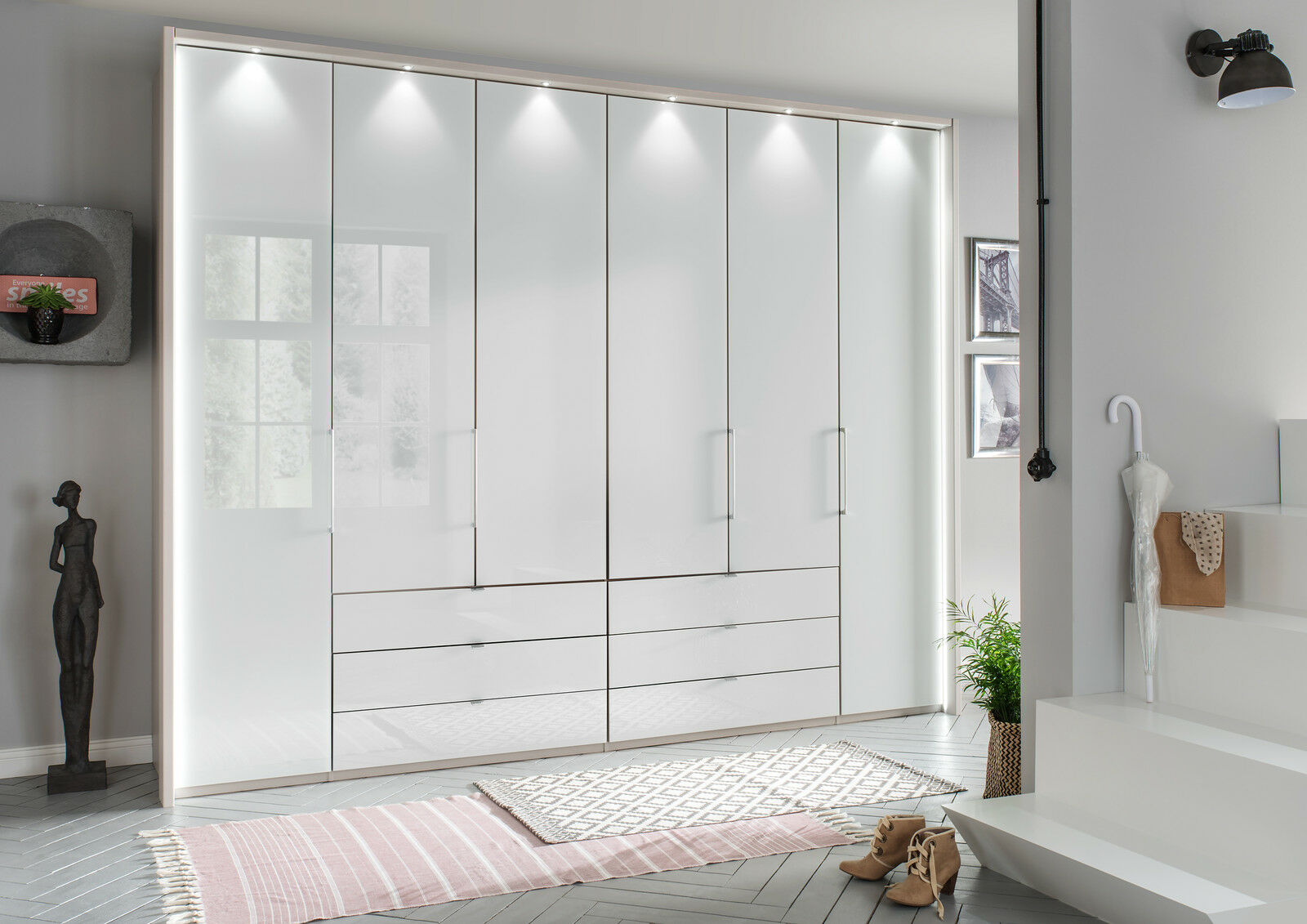 German Kansas 4 Door Wardrobe Bedroom Fitted Free White