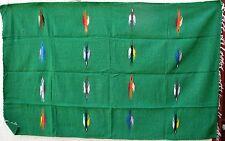 MEXICAN BIRD BLANKET XL  4.5' X 6.5' serape zarape YOGA BLANKET GREEN