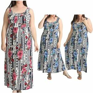 295441d0eff Image is loading Womens-Plus-Size-Floral-Paisley-Print-Sleeveless-Long-