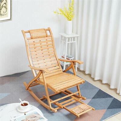 Adjustable 5 Level Bamboo Rocking Chair, Rocking Deck Chair Uk