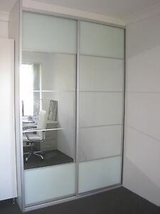 wardrobe sliding doors made to measure mirror and opal glass ebay