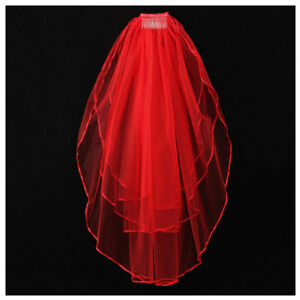 3-Tier-Elegant-Wedding-Bridal-ribbon-side-Tulle-Veil-With-Comb-Red-X5B7