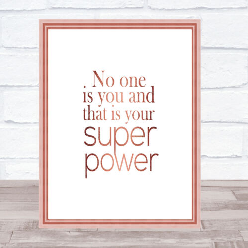 Super Power Quote Print Poster Rose Gold Wall Art