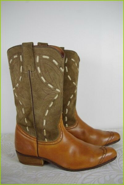 Vintage Boots all Leather and Suede Tan T 38 Very Good Condition