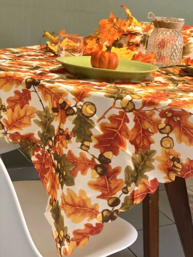Colorful Fall Leaf Tab Thanksgiving Tablecloth Autumn Maple Leaves Table Cloth