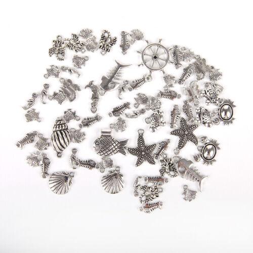 50Pcs Bulk  Tibetan Silver Mixed Charms Ocean Pendants Jewelry DIY Findings