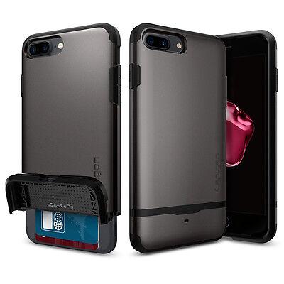 Apple iPhone 7 Plus Spigen Flip Armor Card Slot Wallet Case TPU Shockproof Cover
