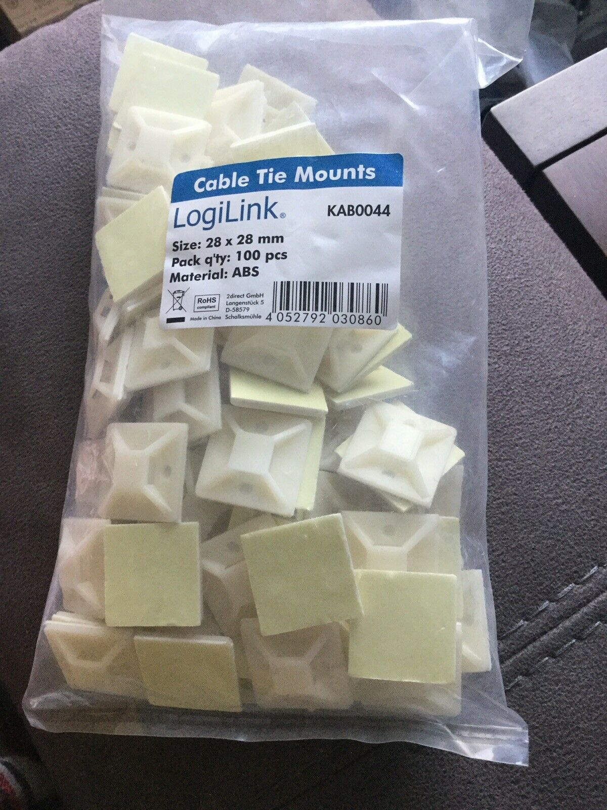 Cable Tie Mounts 28 X 28mm 100 Pack