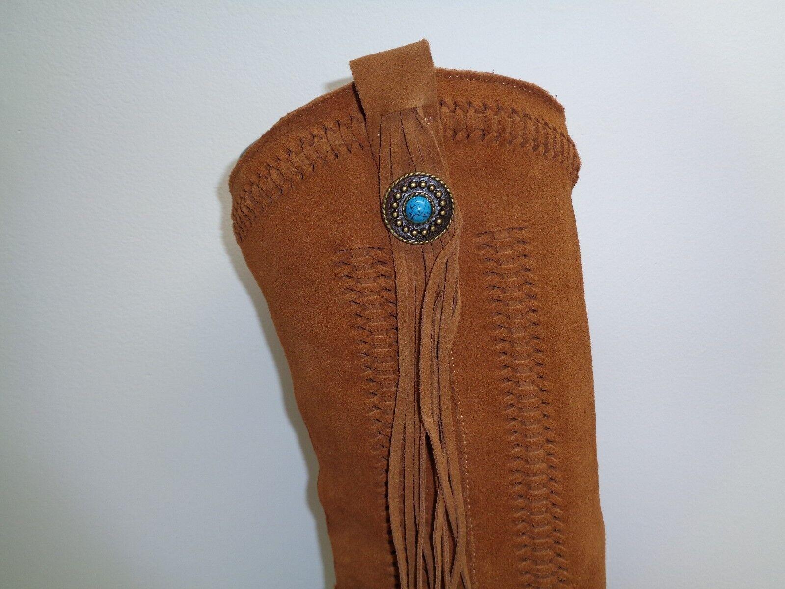 Reba Größe 8 M HADES Tan Suede Fringe New Tassel Western Heel Stiefel New Fringe Damenschuhe Schuhes 035799