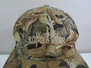 Wrangler Rugged Wear Camo Trucker Adjustable Hat Cap Embroidered Logo