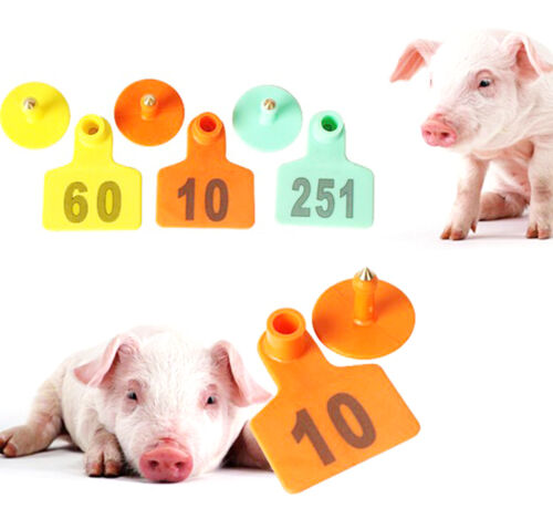 NO.201-300 Yellow Livestock Ear Tag Poultry Markers Pig Goat Sheep Label Plastic
