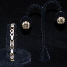 VINTAGE DAMASCENE GOLD TONE BLACK & WHITE LINK BRACELET & CLIP-ON EARRINGS SET