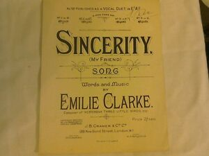 Vintage-Sheet-Music-034-Sincerity-034-My-Friend-words-and-music-by-Emilie-Clarke