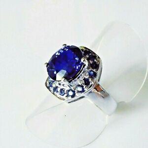 Handarbeit Edler Cocktail AAA Kashmir Saphir 925 Sterlingsilber Ring 16,8 mm 53