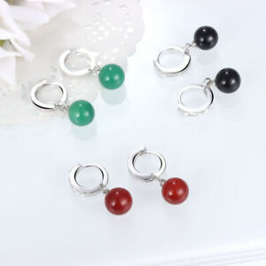 925-Silver-Hoop-Huggie-Earrings-Agate-Bead-Drop-Dangle-Women-Fashion-Jewelry