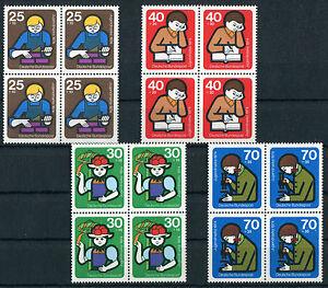 4-x-Bund-800-803-VB-postfrisch-Viererblock-BRD-Jugendarbeit-1974-ungefaltet