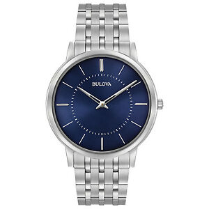 Bulova Men's 96A188 Classic Collection Quartz Blue Dial 40mm Bracelet Watch