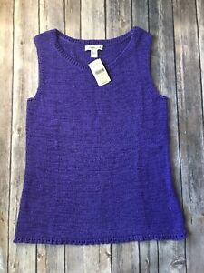 Coldwater-Creek-Sweater-Top-New-Pullover-Shell-Women-L-14-Purple-Tank-Lagenlook