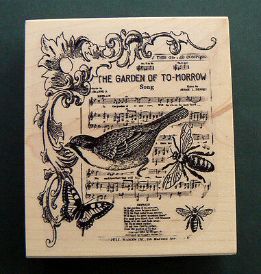 "P6  Collage rubber stamp ""The garden of to-morrow"" 3.2x3.75"