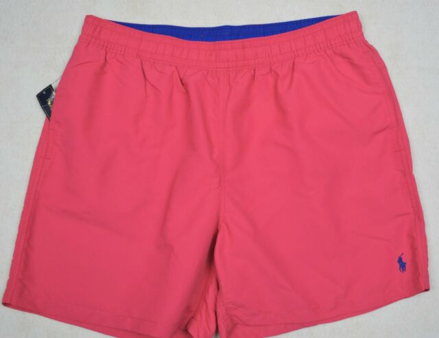 4af102f8 Polo Ralph Lauren Swim Trunks Briefs Pink White Striped Shorts L Large