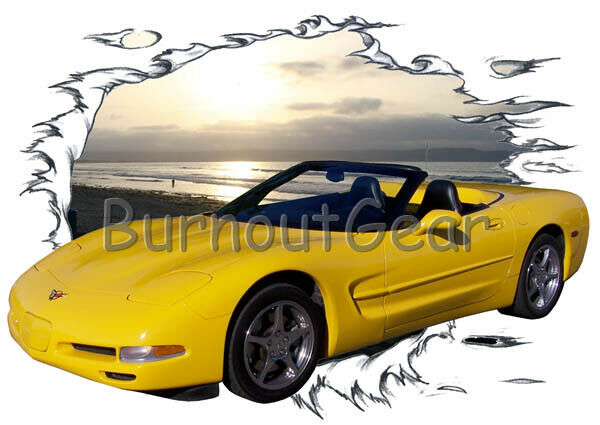 2001 Gelb Chevy Corvette Custom Hot Rod Sun Set T-Shirt 01 Muscle Car Tees
