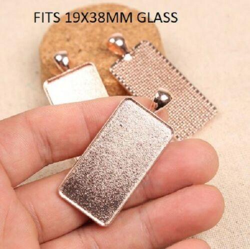 2 x Rose gold rectangle cabochon pendant settings  fits  19x38mm glass