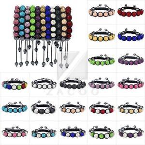 7-Crystal-Disco-Ball-Rhinestones-Beads-Friendship-Adjustable-Bracelet-22-Color