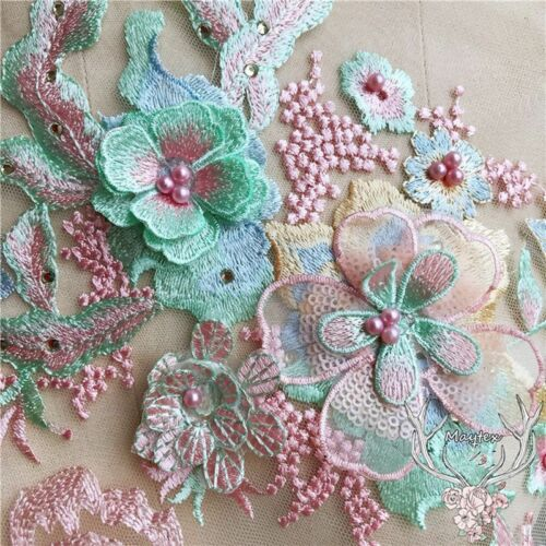 Embroidery Lace 3D Flower Bridal Applique Beaded Pearl Tulle DIY Wedding Dress