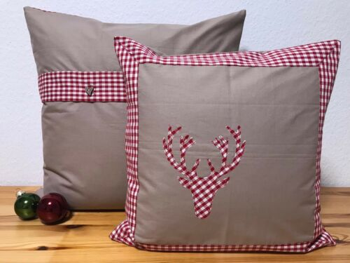 50x50cm Country Style Cushion Cover Pillowcase Red//Beige Check * Christmas