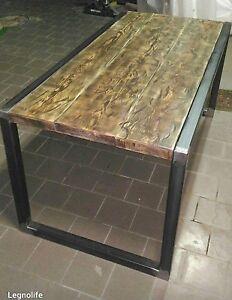 Tavolo Ferro E Legno Fai Da Te.Dettagli Su Tavolo Da Pranzo In Ferro E Legno Design Industrial